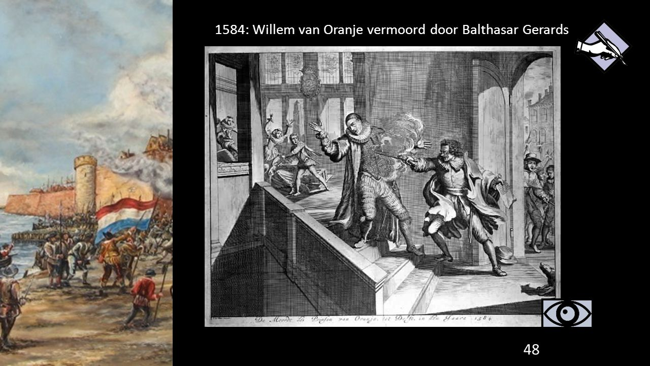 1584: Willem van Oranje vermoord door Balthasar Gerards