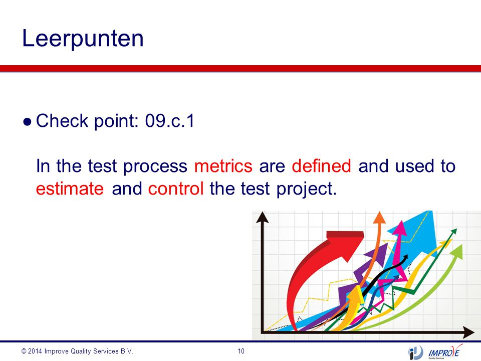 Leerpunten Check point: 09.c.1 In the test process metrics are defined and used to estimate and control the test project.
