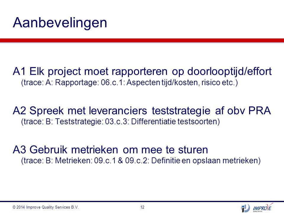 Aanbevelingen A1 Elk project moet rapporteren op doorlooptijd/effort (trace: A: Rapportage: 06.c.1: Aspecten tijd/kosten, risico etc.)