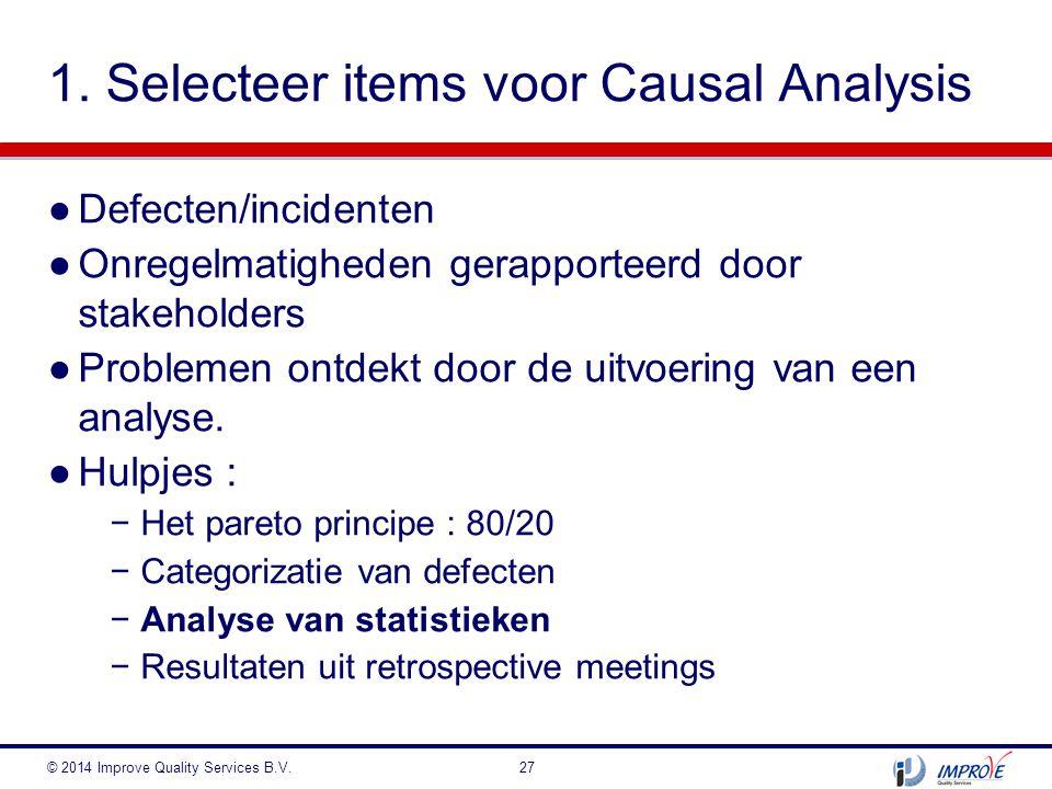 1. Selecteer items voor Causal Analysis