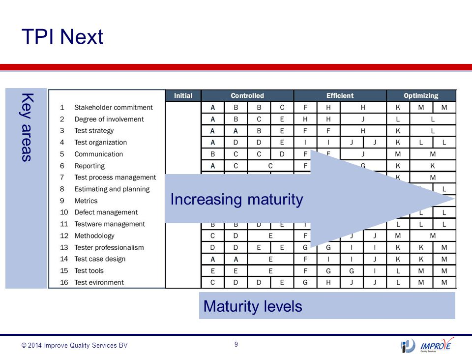 TPI Next Key areas Increasing maturity Maturity levels