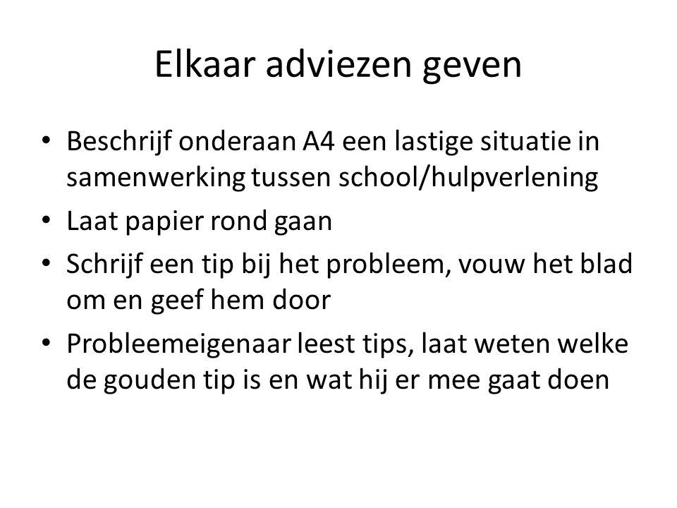 Elkaar adviezen geven Beschrijf onderaan A4 een lastige situatie in samenwerking tussen school/hulpverlening.