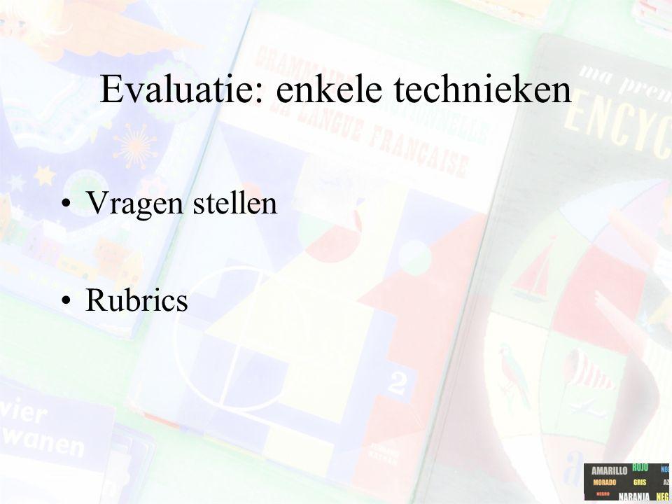 Evaluatie: enkele technieken