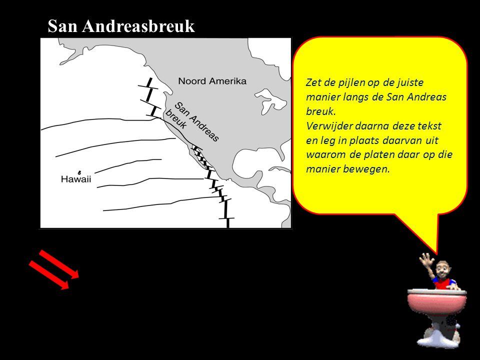 San Andreasbreuk Zet de pijlen op de juiste manier langs de San Andreas breuk.