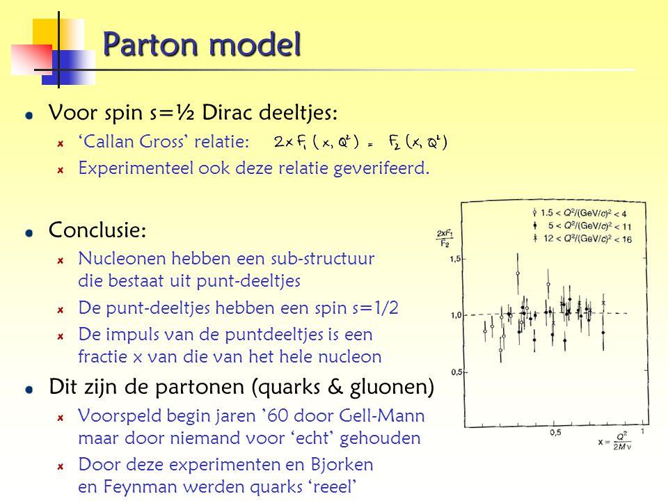 Parton model Voor spin s=½ Dirac deeltjes: Conclusie: