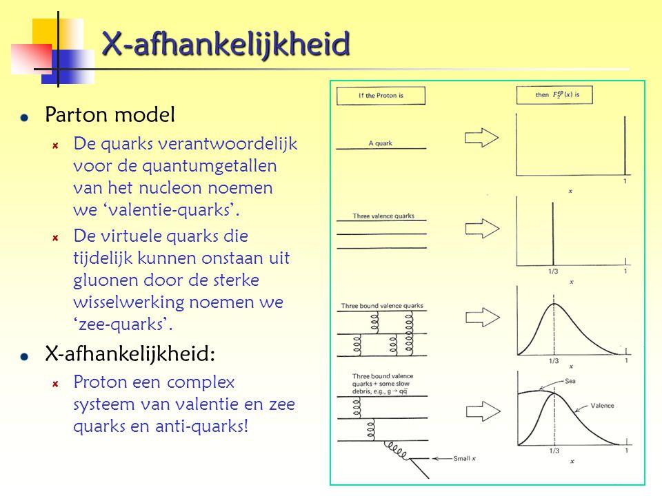X-afhankelijkheid Parton model X-afhankelijkheid: