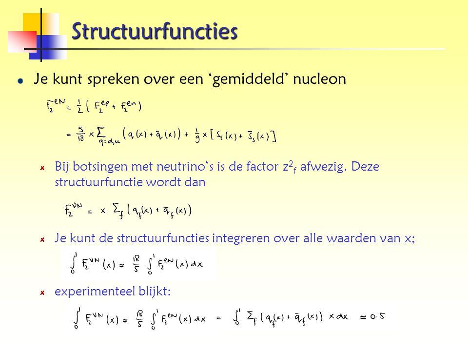 Structuurfuncties Je kunt spreken over een 'gemiddeld' nucleon
