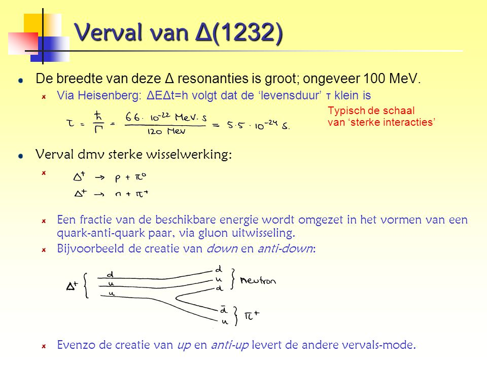 Verval van Δ(1232) De breedte van deze Δ resonanties is groot; ongeveer 100 MeV. Via Heisenberg: ΔEΔt=h volgt dat de 'levensduur' τ klein is.