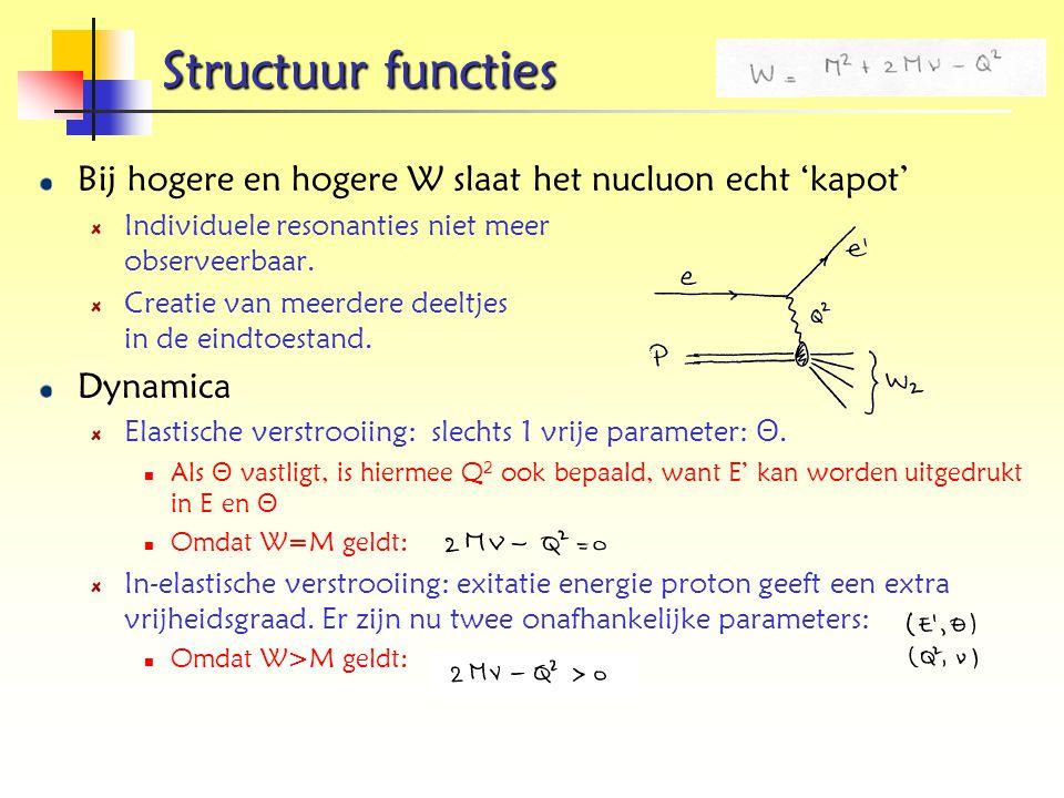 Structuur functies Bij hogere en hogere W slaat het nucluon echt 'kapot' Individuele resonanties niet meer observeerbaar.