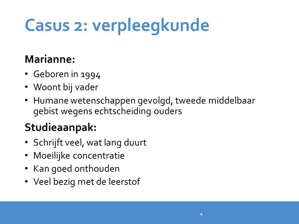 Casus 2: verpleegkunde Marianne: Studieaanpak: Geboren in 1994