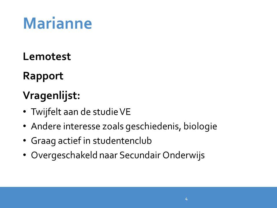 Marianne Lemotest Rapport Vragenlijst: Twijfelt aan de studie VE
