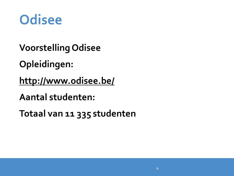 Odisee Voorstelling Odisee Opleidingen: http://www.odisee.be/ Aantal studenten: Totaal van 11 335 studenten