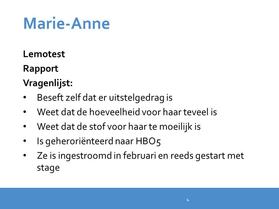 Marie-Anne Lemotest Rapport Vragenlijst: