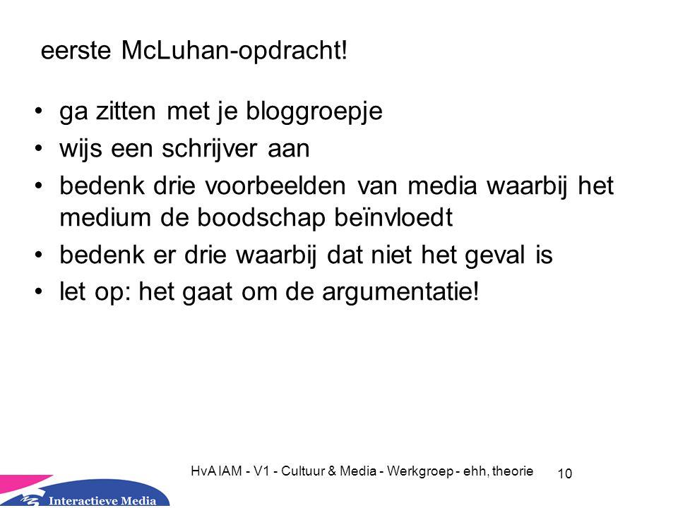 eerste McLuhan-opdracht!