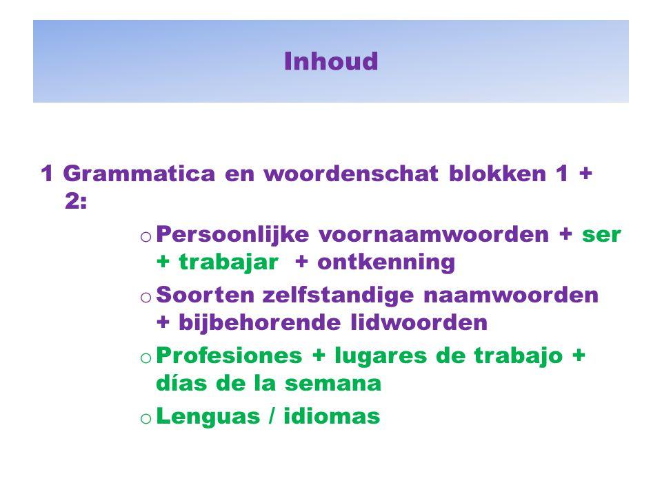 Inhoud 1 Grammatica en woordenschat blokken 1 + 2: