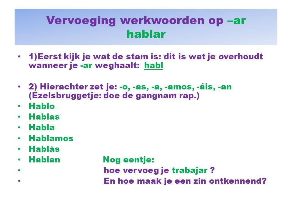 Vervoeging werkwoorden op –ar hablar