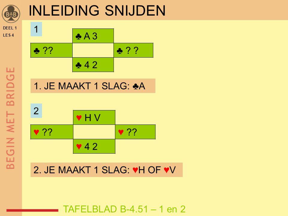 INLEIDING SNIJDEN 1 ♣ A 3 ♣ ♣ ♣ 4 2 1. JE MAAKT 1 SLAG: ♣A 2