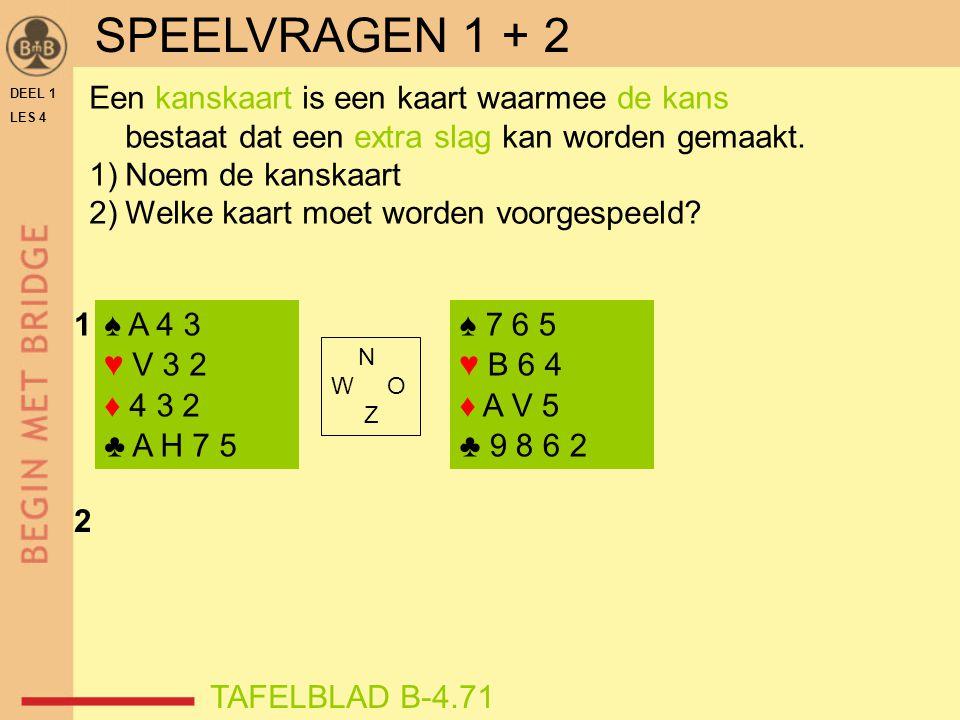 SPEELVRAGEN 1 + 2 Een kanskaart is een kaart waarmee de kans bestaat dat een extra slag kan worden gemaakt.
