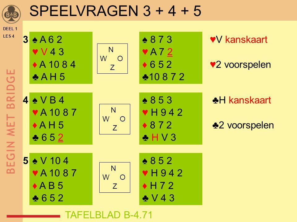 SPEELVRAGEN 3 + 4 + 5 3 ♠ A 6 2 ♥ V 4 3 ♦ A 10 8 4 ♣ A H 5 ♠ 8 7 3