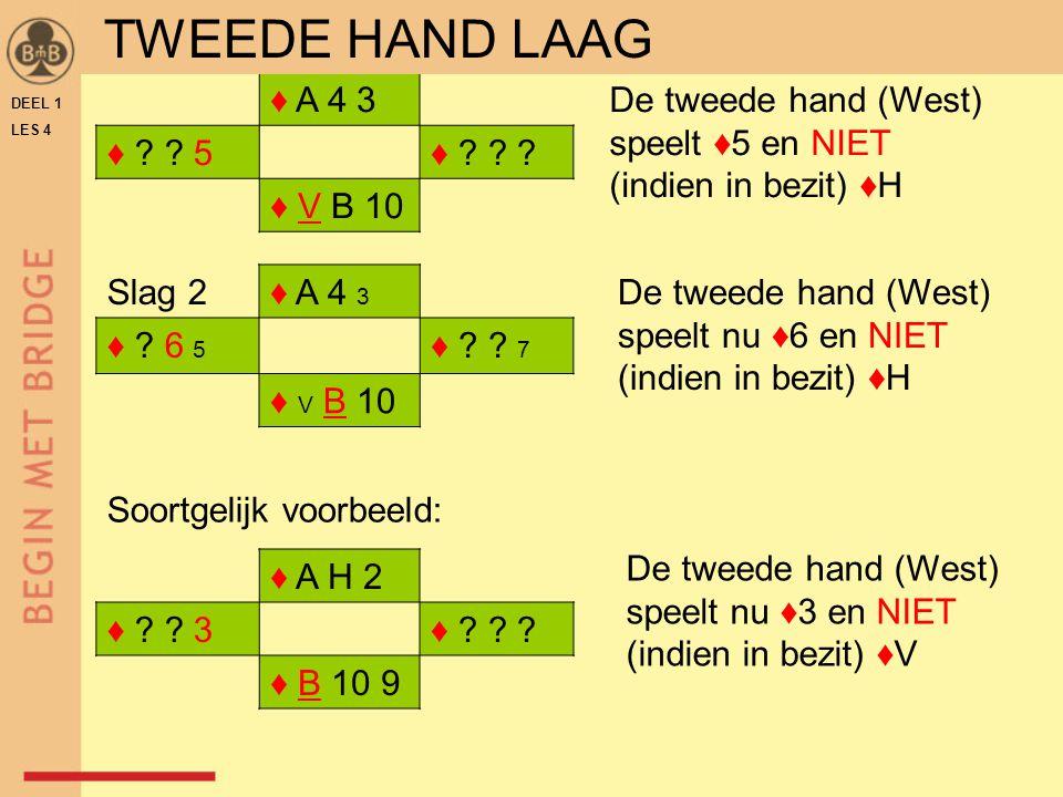TWEEDE HAND LAAG ♦ A 4 3 ♦ 5 ♦ ♦ V B 10