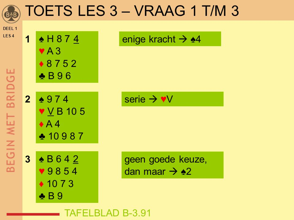 TOETS LES 3 – VRAAG 1 T/M 3 1 ♠ H 8 7 4 ♥ A 3 ♦ 8 7 5 2 ♣ B 9 6 4