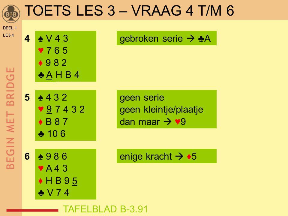 TOETS LES 3 – VRAAG 4 T/M 6 4 ♠ V 4 3 ♥ 7 6 5 ♦ 9 8 2 ♣ A H B 4