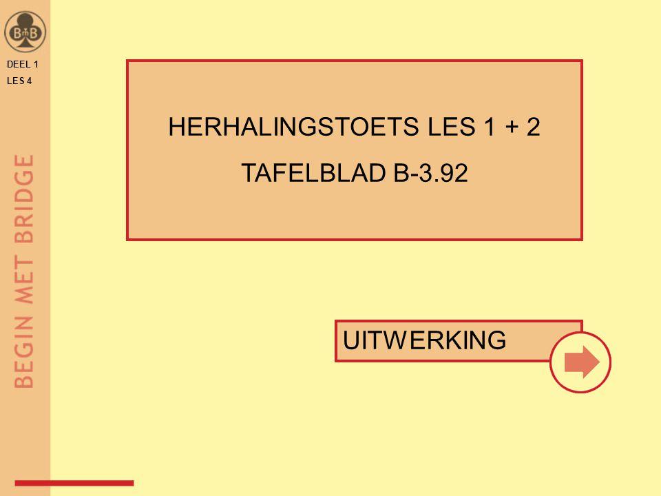 DEEL 1 LES 4 HERHALINGSTOETS LES 1 + 2 TAFELBLAD B-3.92 UITWERKING