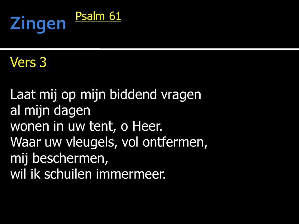 Zingen Vers 3 Laat mij op mijn biddend vragen al mijn dagen