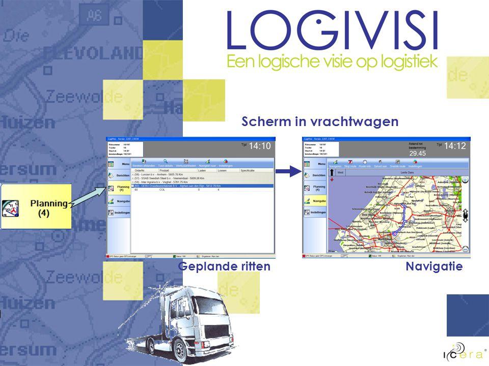 Scherm in vrachtwagen Geplande ritten Navigatie