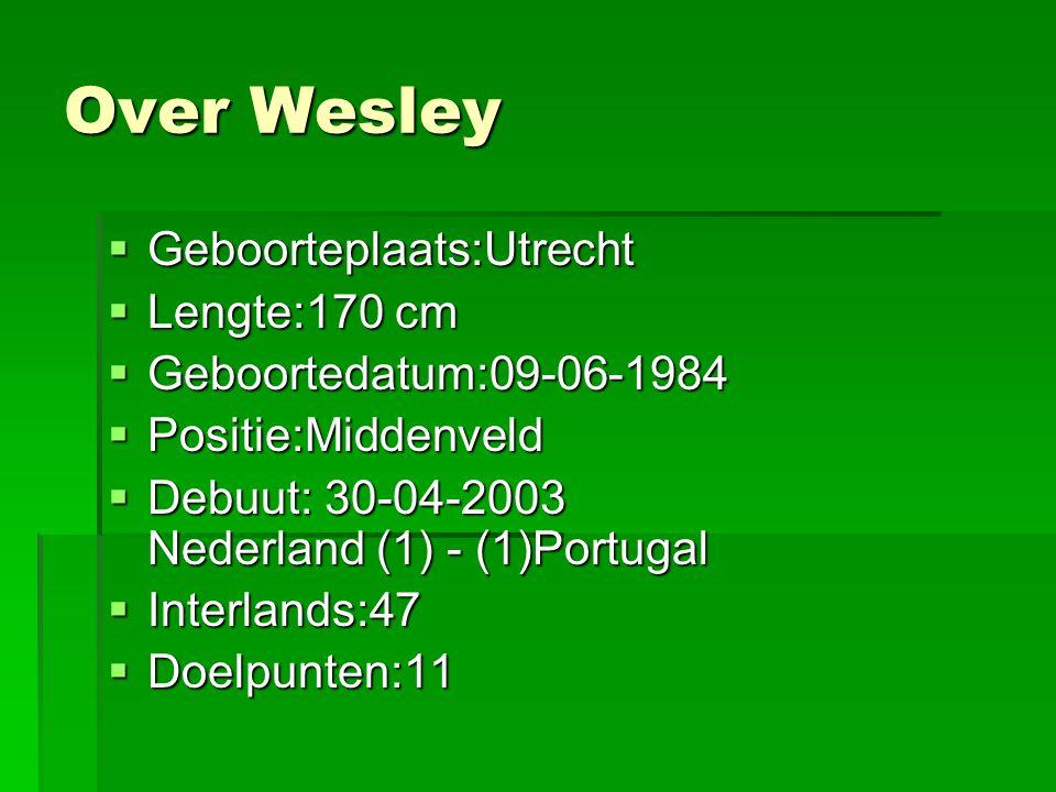 Over Wesley Geboorteplaats:Utrecht Lengte:170 cm