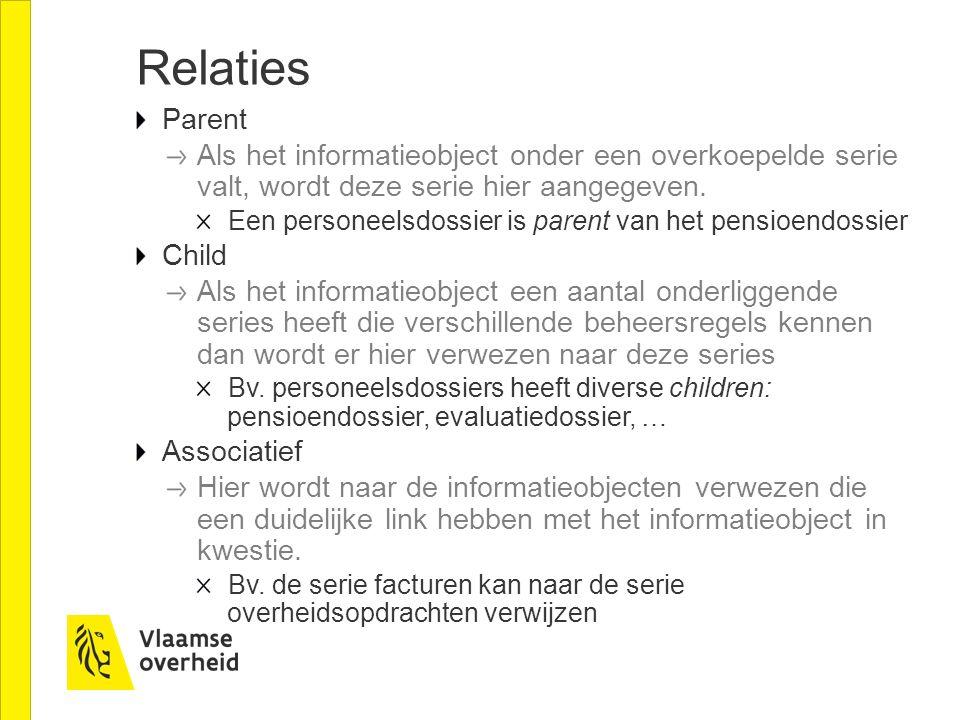 Relaties Parent. Als het informatieobject onder een overkoepelde serie valt, wordt deze serie hier aangegeven.