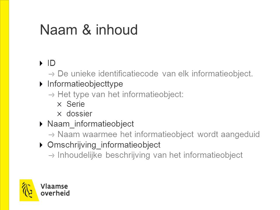 Naam & inhoud ID De unieke identificatiecode van elk informatieobject.