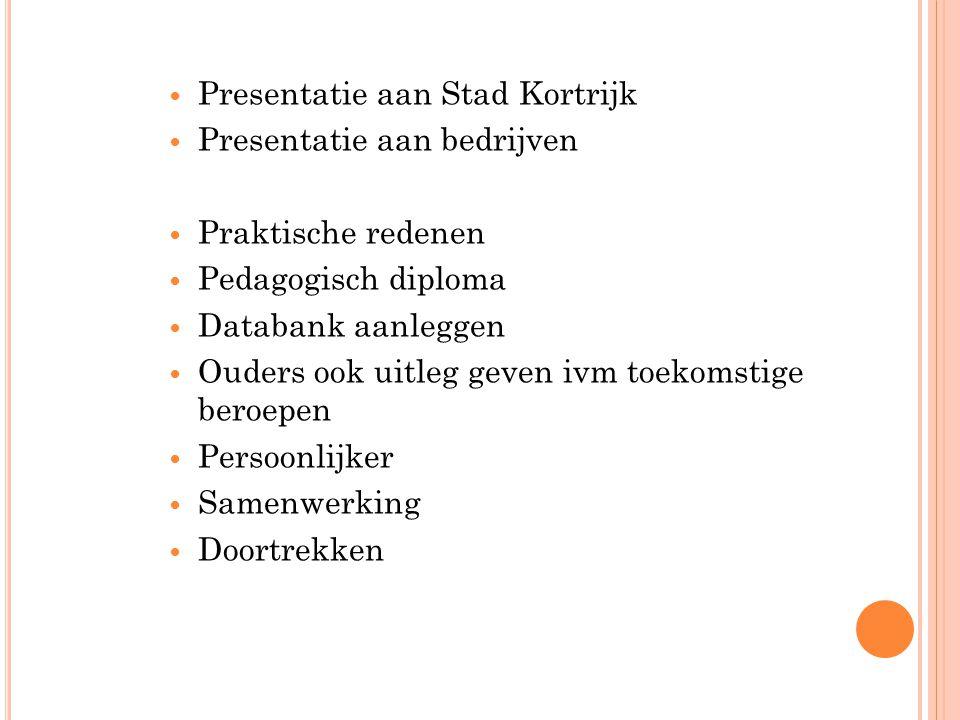 Presentatie aan Stad Kortrijk