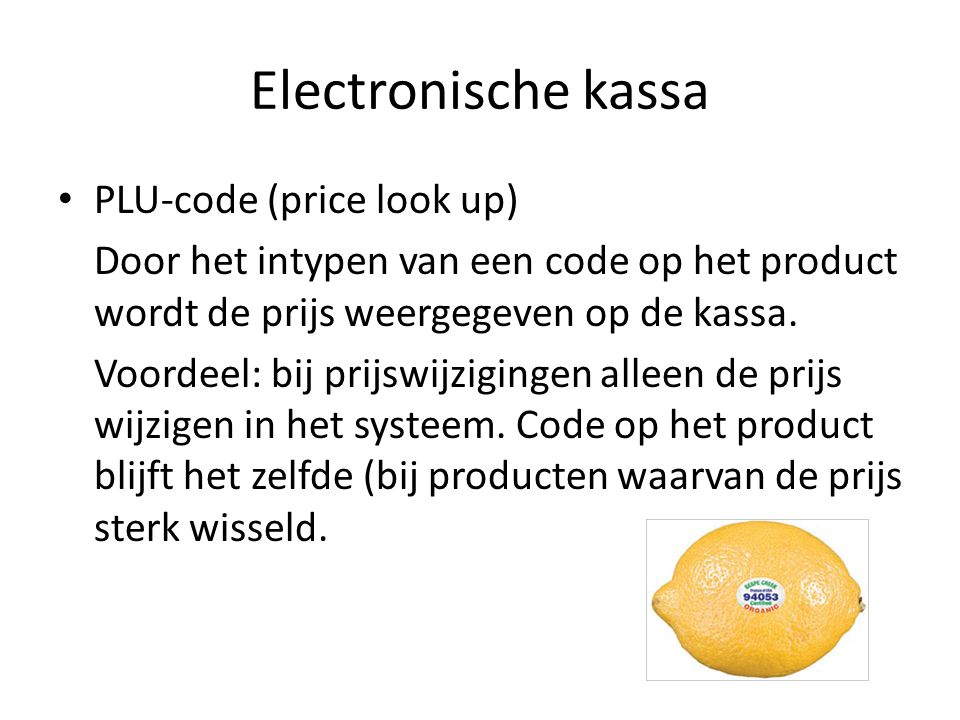 Electronische kassa PLU-code (price look up)