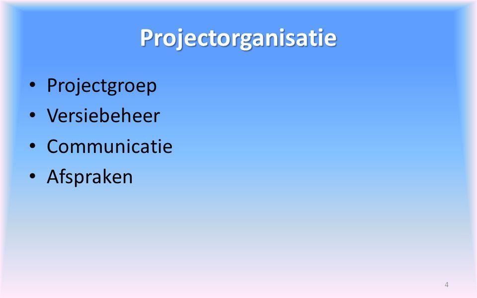 Projectorganisatie Projectgroep Versiebeheer Communicatie Afspraken