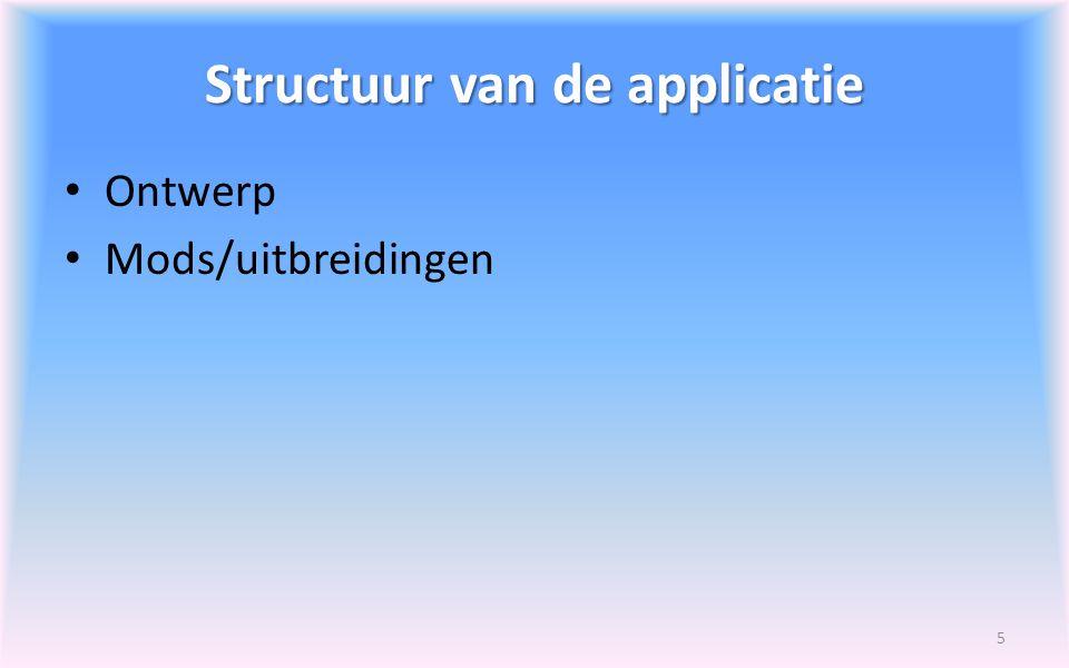 Structuur van de applicatie