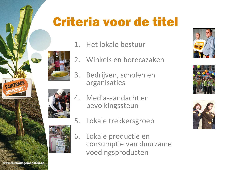 Criteria voor de titel Het lokale bestuur Winkels en horecazaken