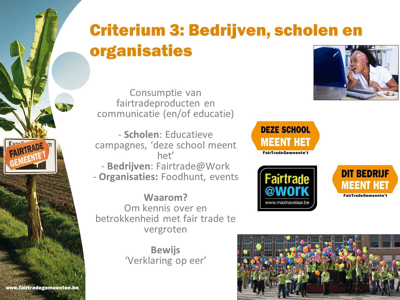Criterium 3: Bedrijven, scholen en organisaties