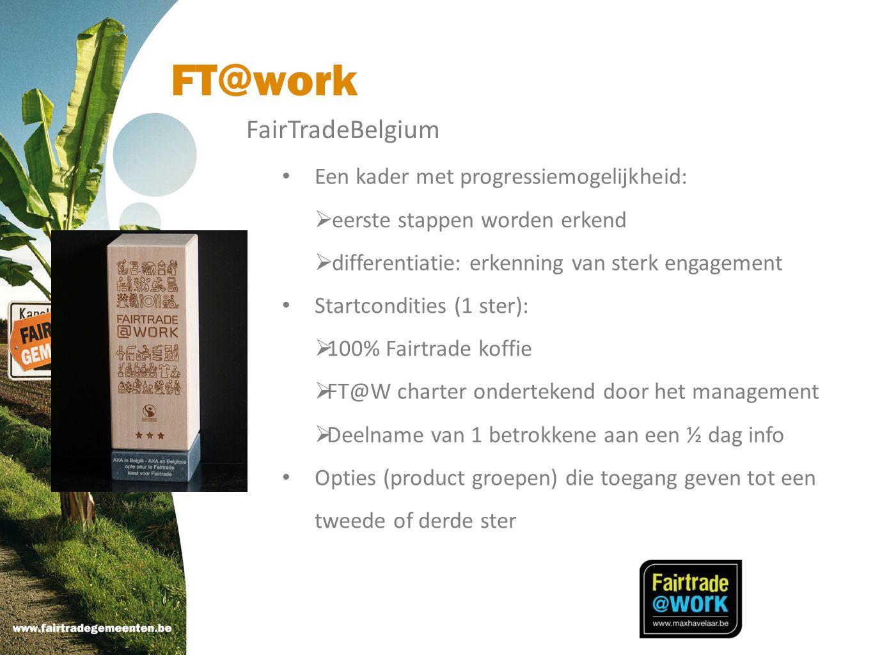FT@work FairTradeBelgium Een kader met progressiemogelijkheid: