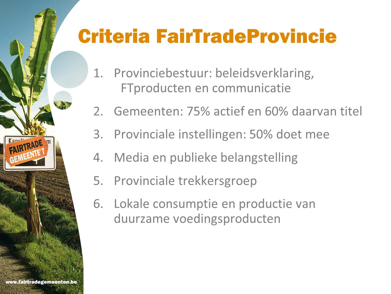 Criteria FairTradeProvincie