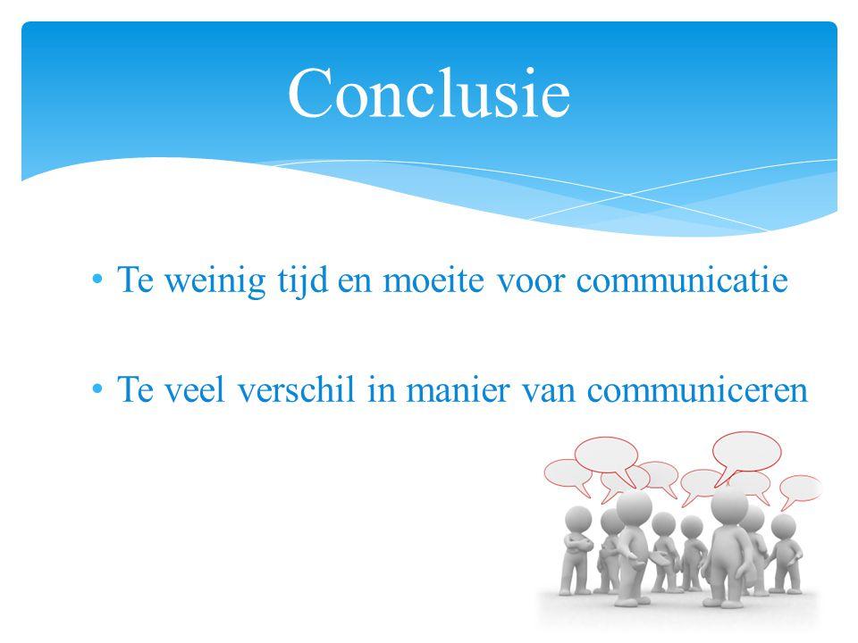 Conclusie Te weinig tijd en moeite voor communicatie