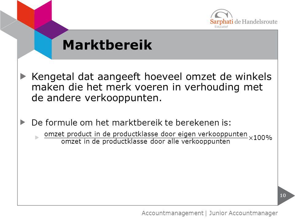 Marktbereik Kengetal dat aangeeft hoeveel omzet de winkels maken die het merk voeren in verhouding met de andere verkooppunten.