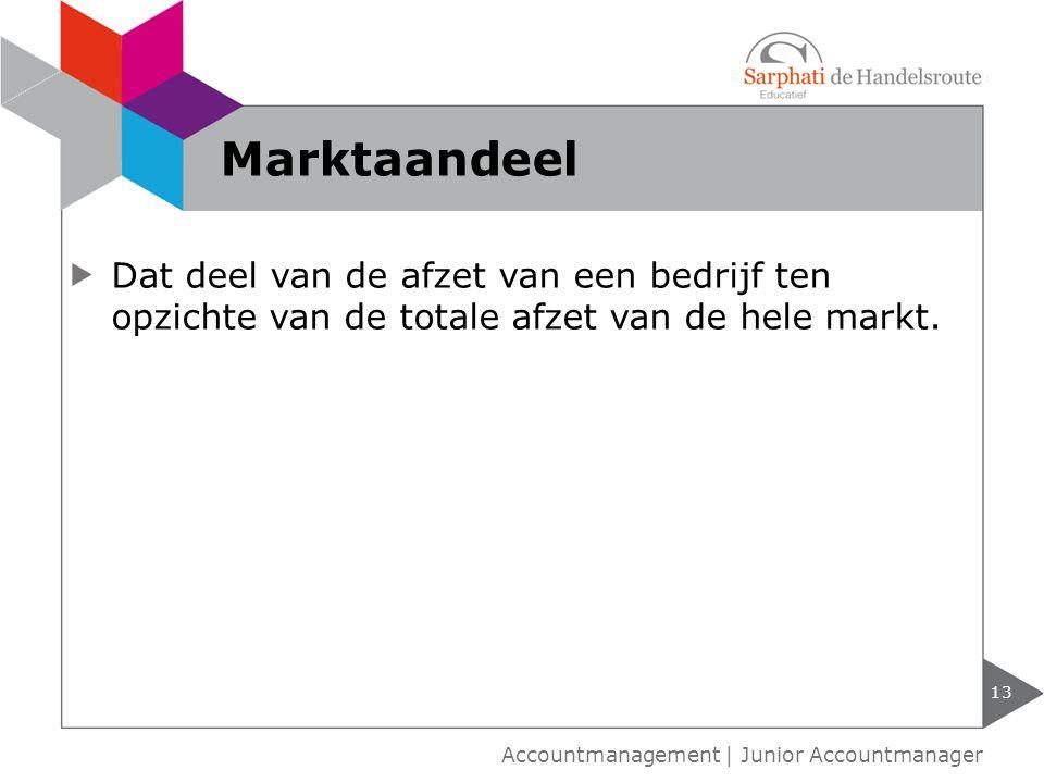 Marktaandeel Dat deel van de afzet van een bedrijf ten opzichte van de totale afzet van de hele markt.