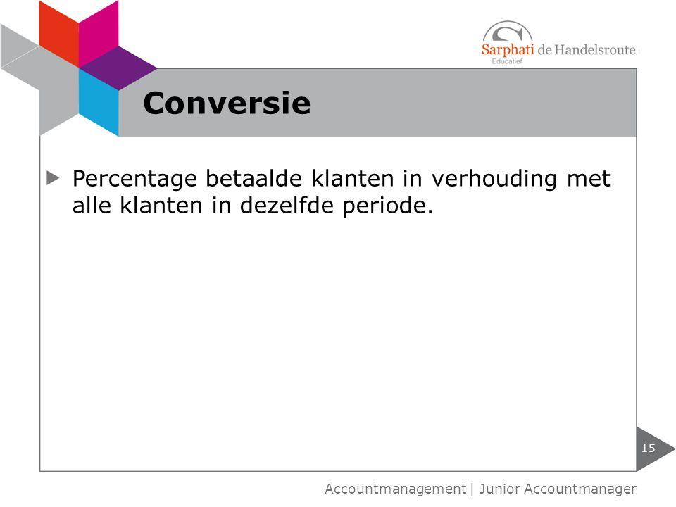 Conversie Percentage betaalde klanten in verhouding met alle klanten in dezelfde periode.