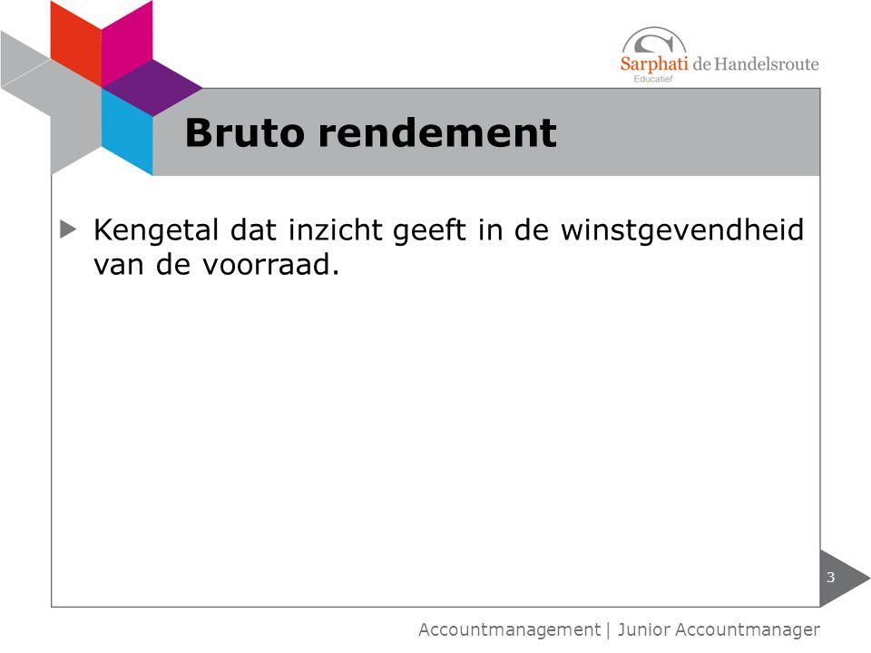 Bruto rendement Kengetal dat inzicht geeft in de winstgevendheid van de voorraad.