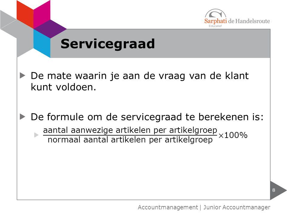 Servicegraad De mate waarin je aan de vraag van de klant kunt voldoen.