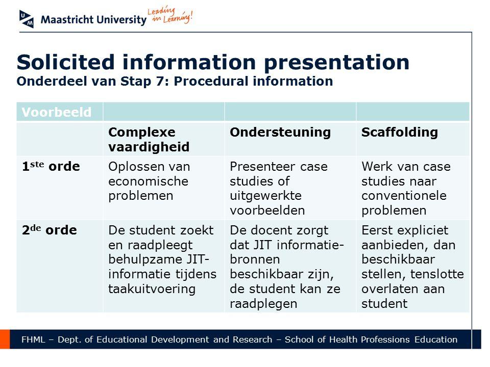 Solicited information presentation Onderdeel van Stap 7: Procedural information