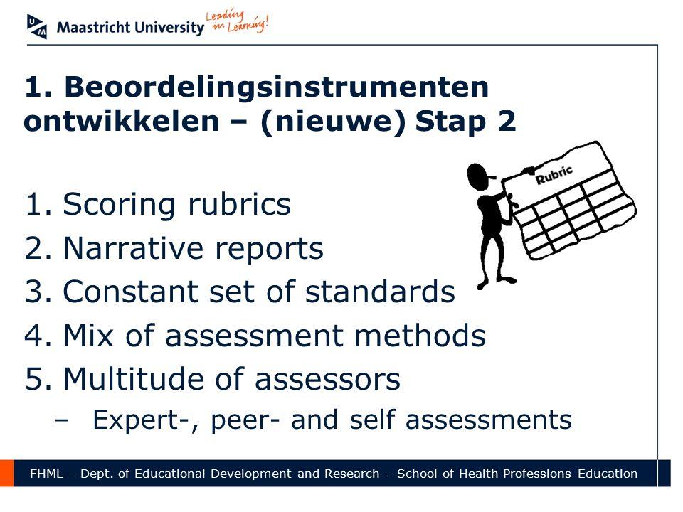 1. Beoordelingsinstrumenten ontwikkelen – (nieuwe) Stap 2