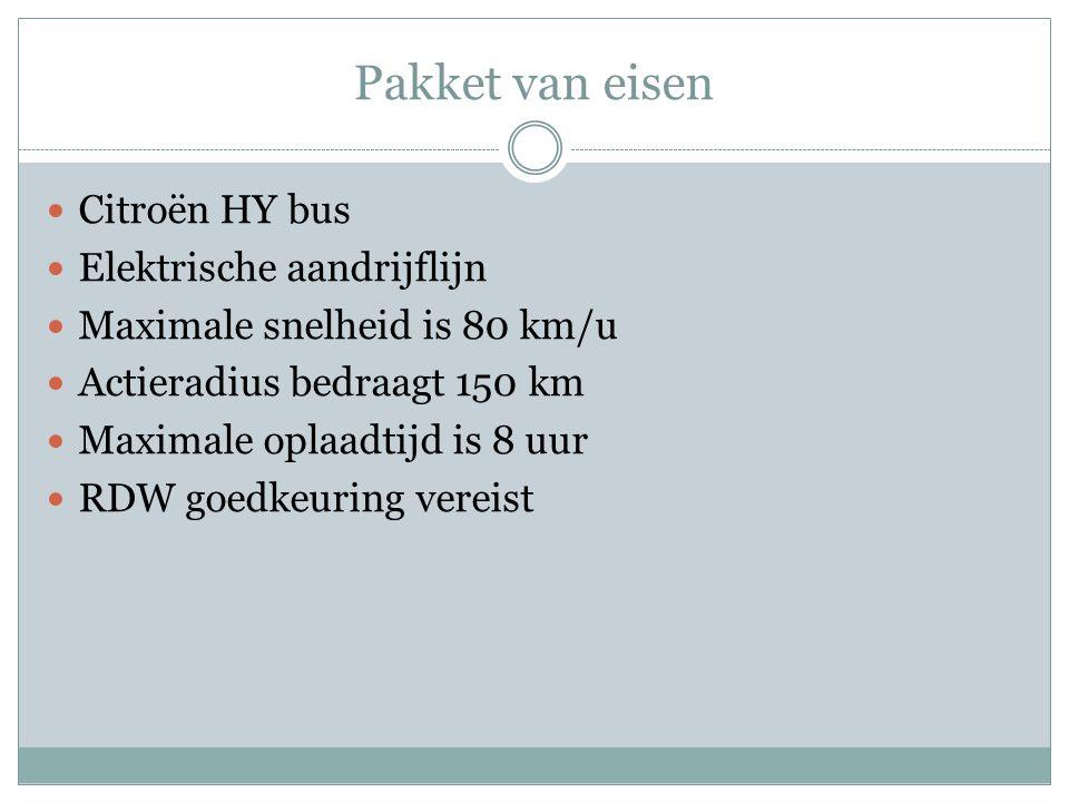 Pakket van eisen Citroën HY bus Elektrische aandrijflijn