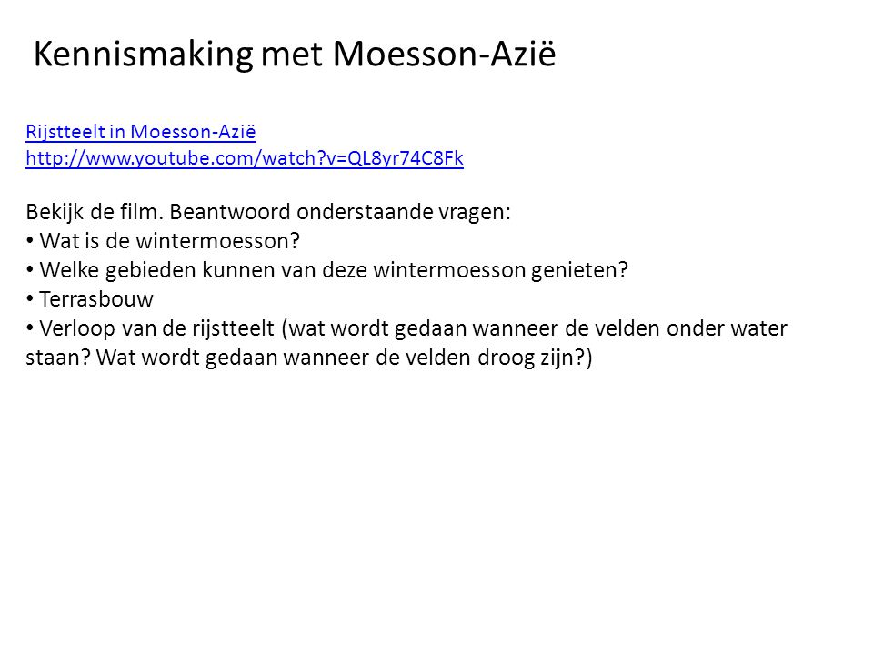 Kennismaking met Moesson-Azië
